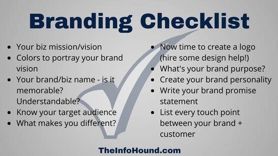 InfoHound small business solopreneur new branding checklist